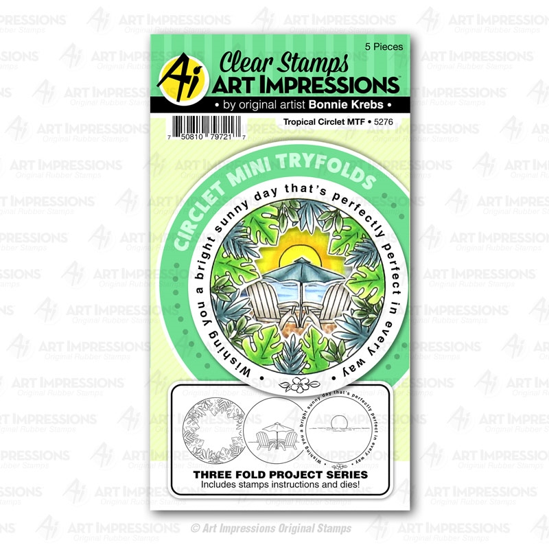 Art Impressions TROPICAL CIRCLET Mini Tryfolds Stamp and Die Set 5276 zoom image
