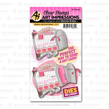 Art Impressions MAILBOX GIFT CARD HOLDER Clear Stamps and Dies 5220