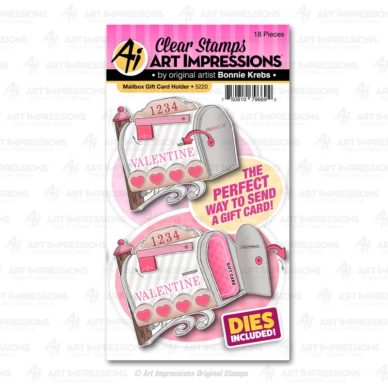 Art Impressions MAILBOX GIFT CARD HOLDER Clear Stamps and Dies 5220 zoom image