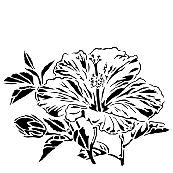 The Crafter's Workshop HIBISCUS 6x6 Stencil tcw915s