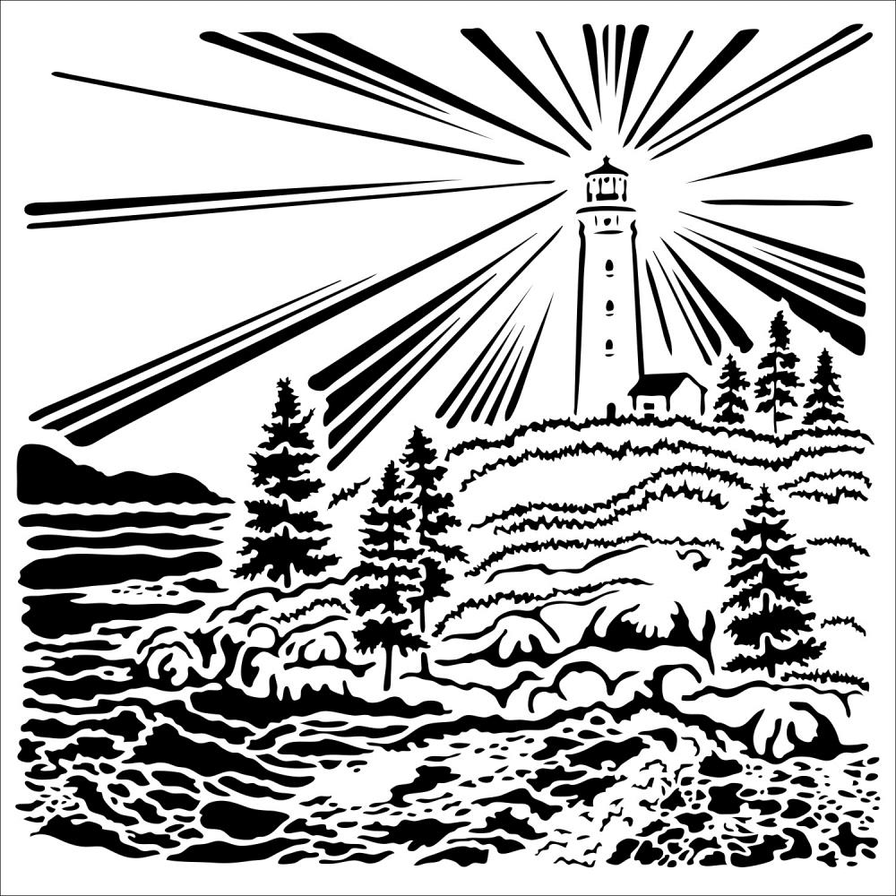 The Crafter's Workshop LIGHTHOUSE 6x6 Stencil tcw916s zoom image