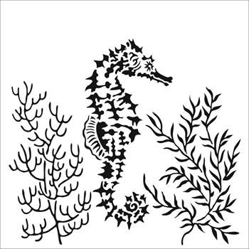 The Crafter's Workshop SEAHORSE 6x6 Stencil tcw918s
