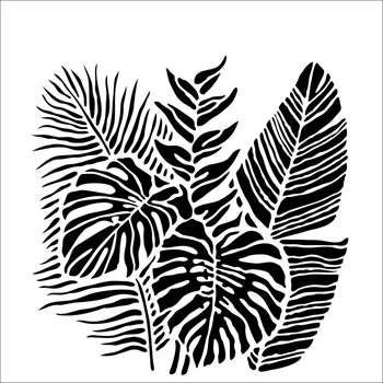 The Crafter's Workshop TROPICAL FRONDS 6x6 Stencil tcw920s