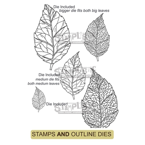 Stamplistic BIRCH LEAF Cling Stamps and Die Set r200103 Preview Image