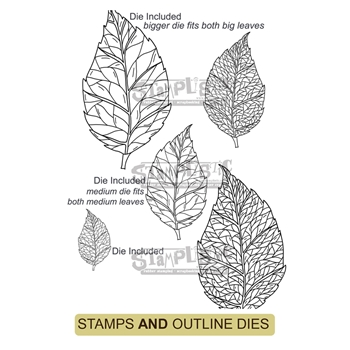 Stamplistic BIRCH LEAF Cling Stamps and Die Set r200103