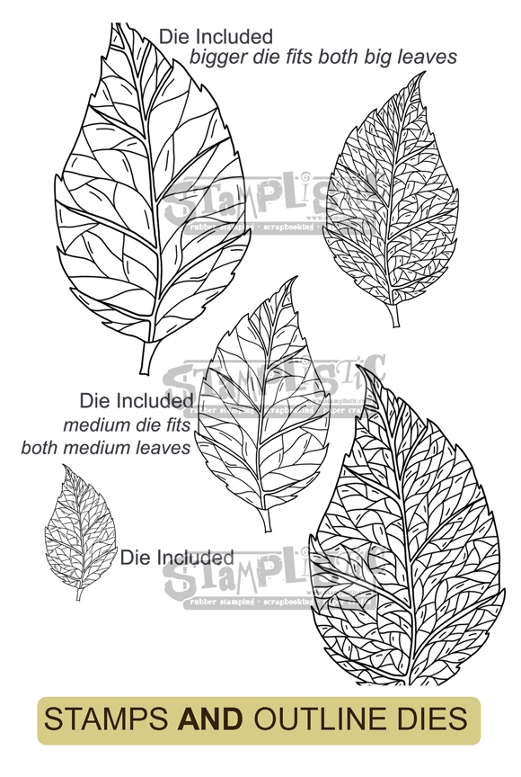 Stamplistic BIRCH LEAF Cling Stamps and Die Set r200103 zoom image
