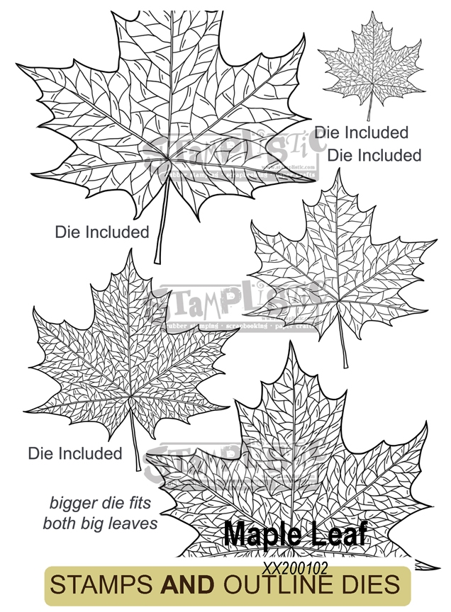 Stamplistic MAPLE LEAF Cling Stamps and Die Set xx200102 zoom image