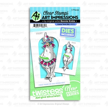 Art Impressions LLAMA TWIST Twisters Clear Stamp and Die Set 5215