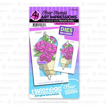 Art Impressions FLORAL TWIST Twisters Clear Stamp and Die Set 5213
