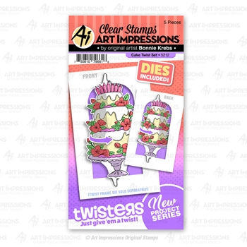 Art Impressions CAKE TWIST Twisters Clear Stamp and Die Set 5212