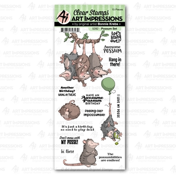 Art Impressions POSSUM Clear Stamps Funny Farm 5282