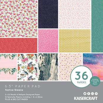Kaisercraft NATIVE BREEZE 6.5 Inch Paper Pad pp1084*