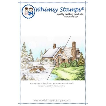Whimsy Stamps STONE HOUSE Cling DA1135