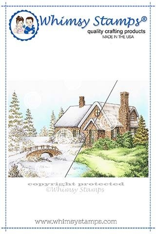 Whimsy Stamps STONE HOUSE Cling DA1135 zoom image