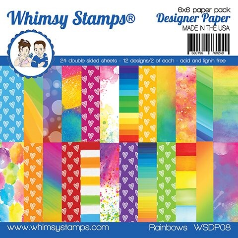 Whimsy Stamps Rainbow 6x6 Paper Pad