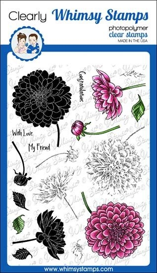 Whimsy Stamps LAYERED DAHLIA Clear Stamps C1310 zoom image