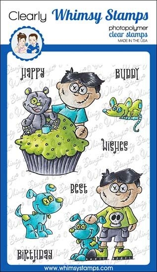 Whimsy Stamps GOTH DOLL BOY Clear Stamps DP1038 zoom image