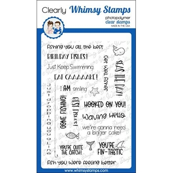 Whimsy Stamps BIG FISHES SENTIMENTS Clear Stamps C1318