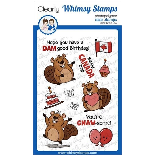 Whimsy Stamps BEAVER BIRTHDAY Clear Stamps KHB157 Preview Image