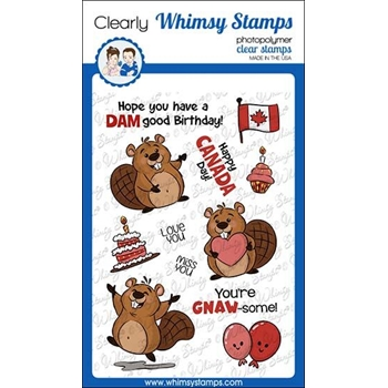 Whimsy Stamps BEAVER BIRTHDAY Clear Stamps KHB157