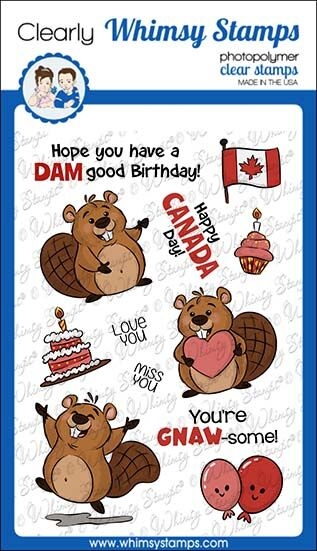 Whimsy Stamps BEAVER BIRTHDAY Clear Stamps KHB157 zoom image