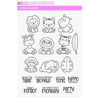 Clearly Besotted JUNGLE PLUSHIES Clear Stamps