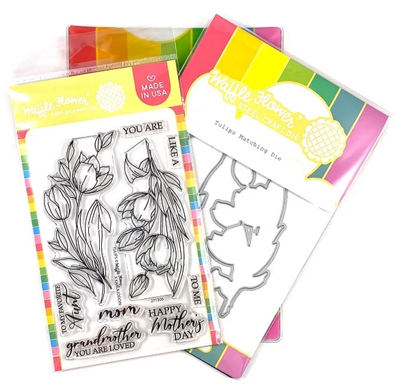 Waffle Flower TULIPS Clear Stamp and Die Combo WFC306 zoom image
