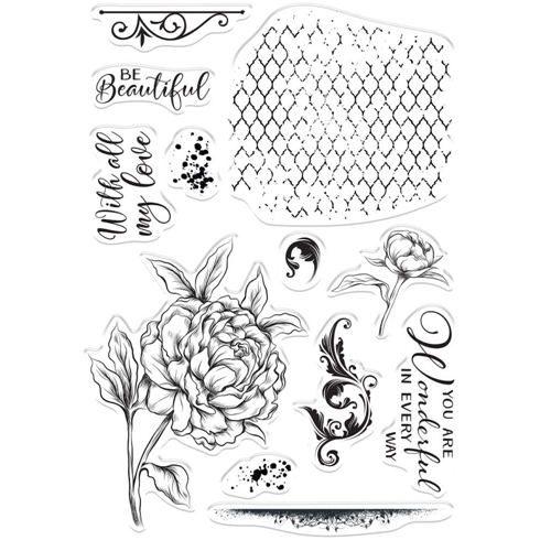 Crafter's Companion BEAUTIFUL PEONY Clear Stamps collstpbepo Preview Image