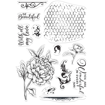 Crafter's Companion BEAUTIFUL PEONY Clear Stamps collstpbepo