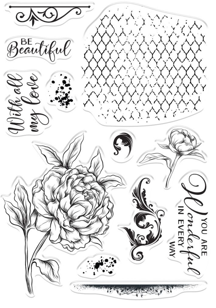 Crafter's Companion BEAUTIFUL PEONY Clear Stamps collstpbepo zoom image