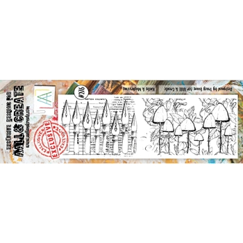 AALL & Create NIBS AND MUSHROOMS BORDER 276 Clear Stamps aal00276