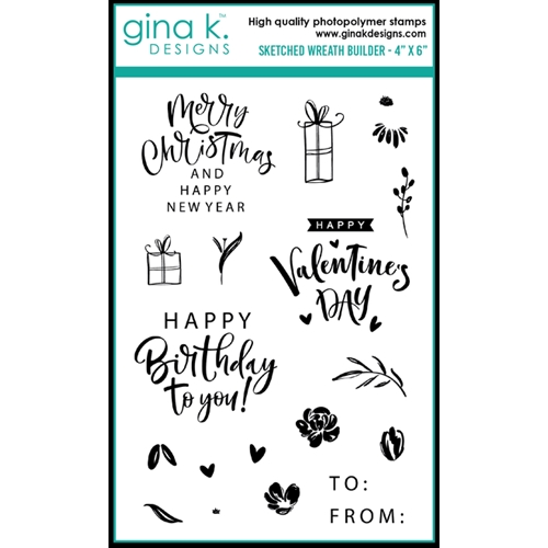 Gina K Sketched Wreath Builder Clear Stamp Set