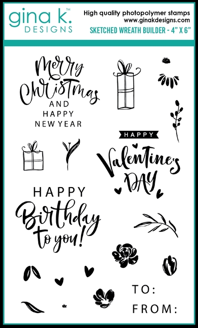 Gina K Designs SKETCHED WREATH BUILDER Clear Stamps 0268 zoom image