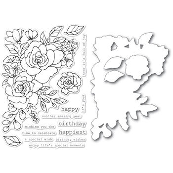 Memory Box BIRTHDAY ROSE CORNER Clear Stamp and Die Set Open Studio cl5251d*