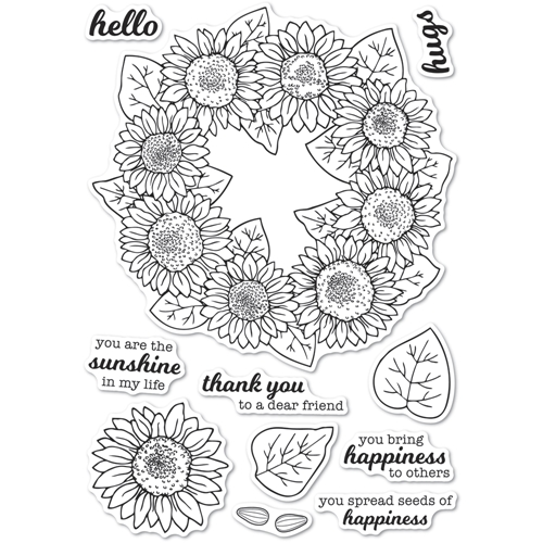 Memory Box Clear Stamps SUNFLOWER WREATH Open Studio cl5253 Preview Image