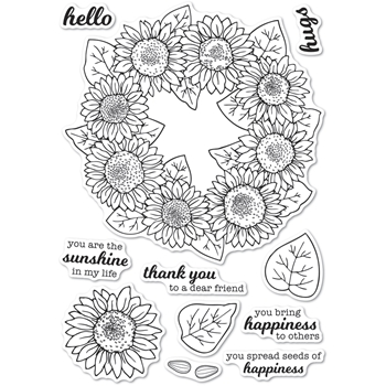 Memory Box Clear Stamps SUNFLOWER WREATH Open Studio cl5253