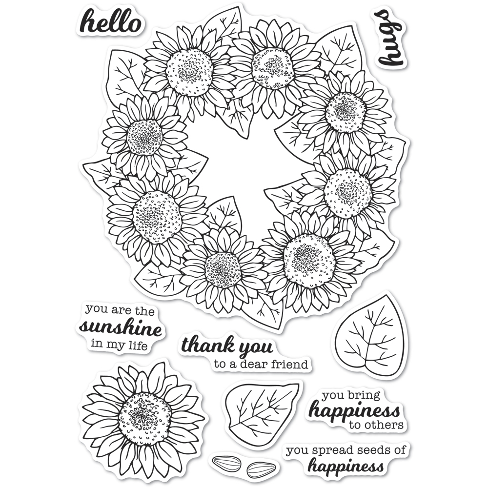 Memory Box Clear Stamps SUNFLOWER WREATH Open Studio cl5253 zoom image