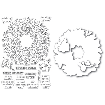 Memory Box CHERRY BLOSSOM WREATH Clear Stamp and Die Set Open Studio cl5256d*