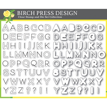 Birch Press Design MOD ALPHABET Clear Stamps and Die Set 8139