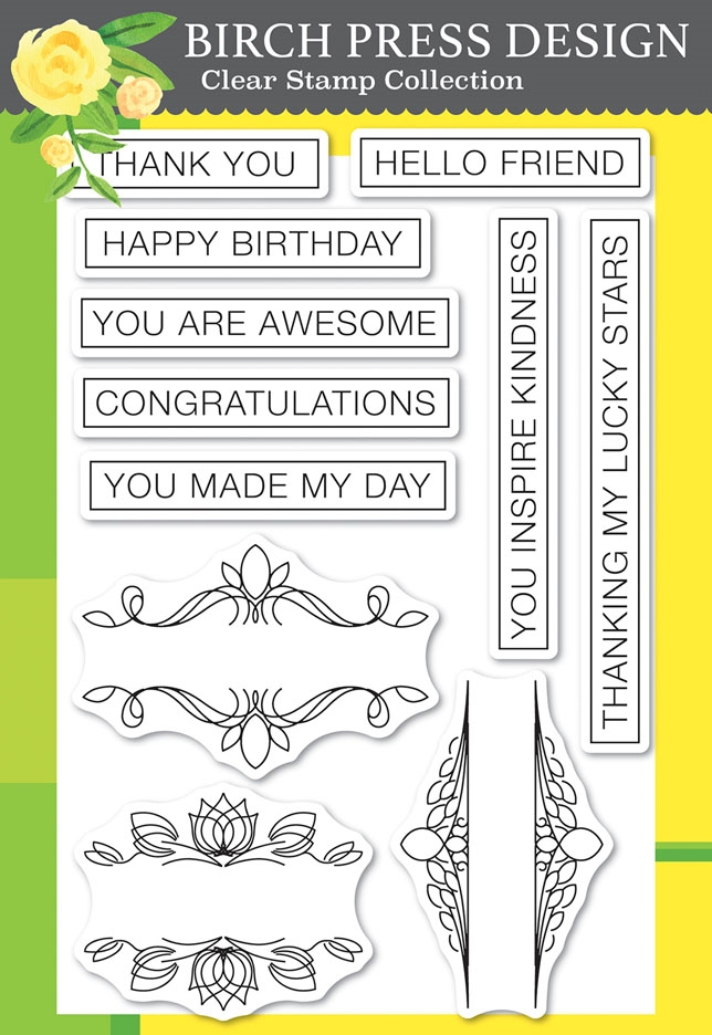 Birch Press Design AWESOME TICKER TAPE MESSAGES Clear Stamps cl8149 zoom image