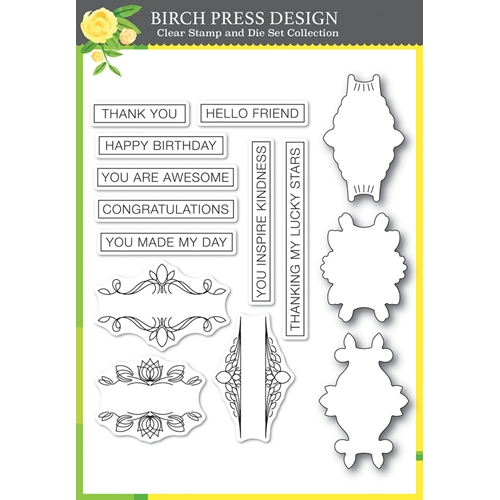 Birch Press Design AWESOME TICKER TAPE MESSAGES Clear Stamps and Die Set 8149 Preview Image
