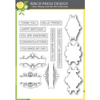 Birch Press Design AWESOME TICKER TAPE MESSAGES Clear Stamps and Die Set 8149