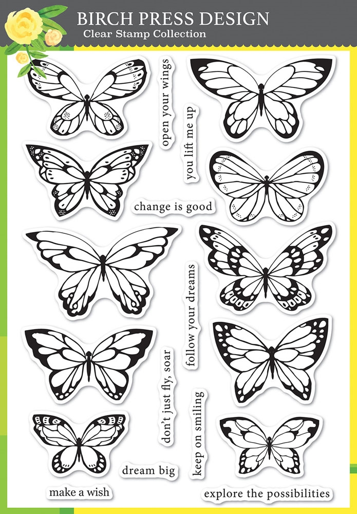Birch Press Design LOVELY BUTTERFLIES Clear Stamps cl8150 zoom image