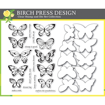 Birch Press Design LOVELY BUTTERFLIES Clear Stamps and Die Set 8150