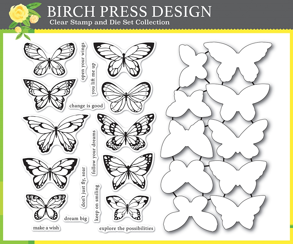 Birch Press Design LOVELY BUTTERFLIES Clear Stamps and Die Set 8150 zoom image