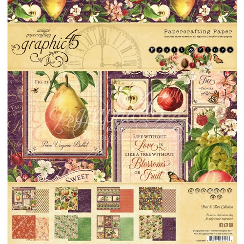 Graphic 45 FRUIT AND FLORA 8 x 8 Paper Pad 4501999 Preview Image