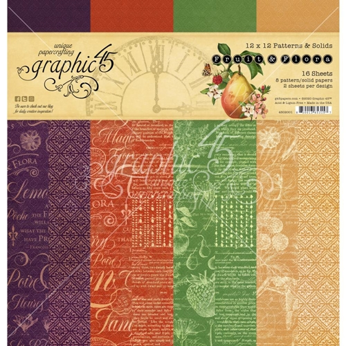 Graphic 45 FRUIT AND FLORA 12 x 12 Patterns And Solids Paper Pad 4502001 Preview Image