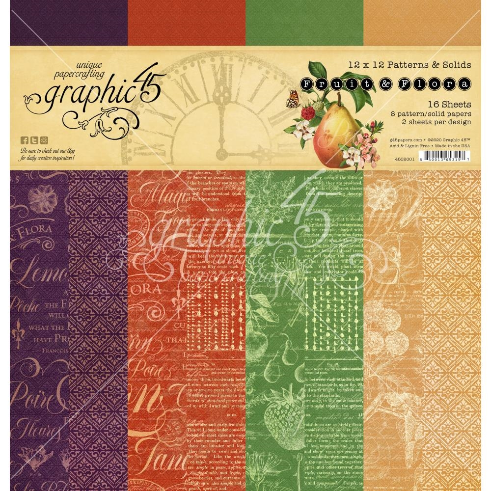 Graphic 45 FRUIT AND FLORA 12 x 12 Patterns And Solids Paper Pad 4502001 zoom image
