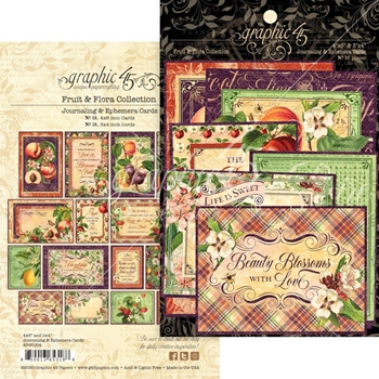 Graphic 45 FRUIT AND FLORA Journaling And Ephemera Cards 4502004