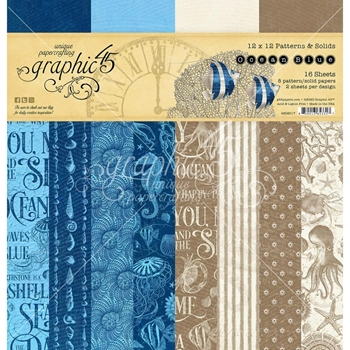 Graphic 45 OCEAN BLUE 12 x 12 Patterns And Solids Paper Pad 4502017
